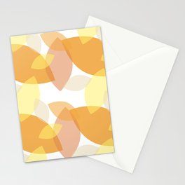 Leafy Wonder - II - White Yellow Peach Orange  Stationery Cards