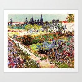 Vincent Van Gogh Flowering Garden Art Print