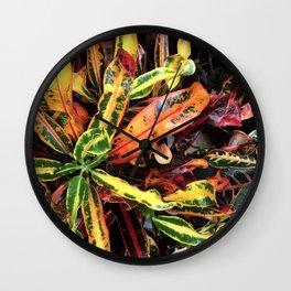 Breathtaking, Vibrant Colorful Leaves Macro Photo Wall Clock