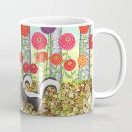 striped skunks, zinnias, birches, & crows Coffee Mug