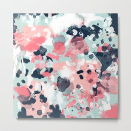 Isla - abstract painting navy mint coral trendy color palette summer bright decor Metal Print
