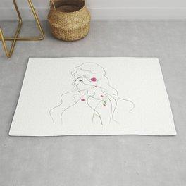 Art line flower woman. Rug