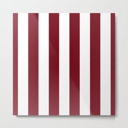 Deep Red Pear and White Wide Vertical Cabana Tent Stripe Metal Print
