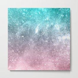 Sea pink viridian green ombre abstract galaxy Metal Print
