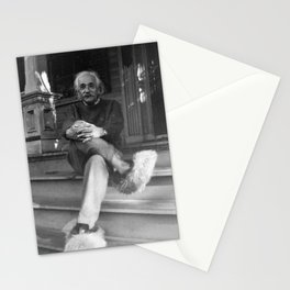 Albert Einstein in Fuzzy Slippers Classic Black and White Satirical Photography - Photographs Stationery Cards