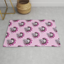 Day of the Dead, a Skull with a wreath of roses on a pink background Rug
