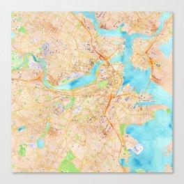 Boston watercolor map XL version Canvas Print