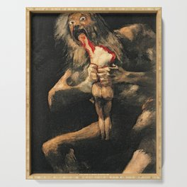Saturn Devouring His Son Goya Painting Serving Tray