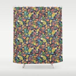 Underground Flowers Rainbow Shower Curtain