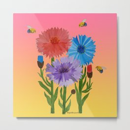 Sunset Cornflowers Metal Print