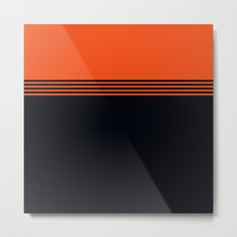 70s Orange Retro Striped Pattern Metal Print