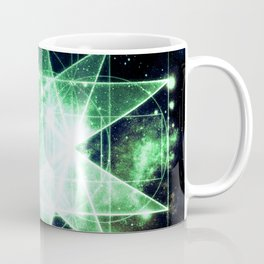 Sacred Geometry Green Midnight Blue Galaxy Coffee Mug