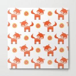 Orange Fox Metal Print