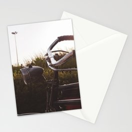 Vintage bicycle, street, and sunset Stationery Cards