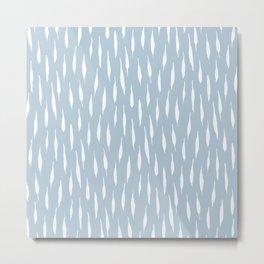 Rainy muted blue charcoal brushstroke Metal Print