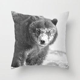 Alaskan Grizzly Bear in Snow, B & W - 3 Throw Pillow