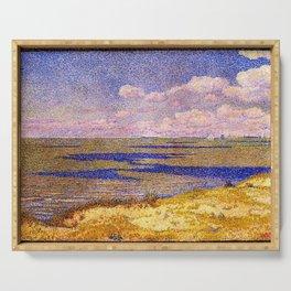 Barrier Beach and Salt Ponds, Summer seaside ocean landscape painting by Theo Van Rysselberghe Serving Tray