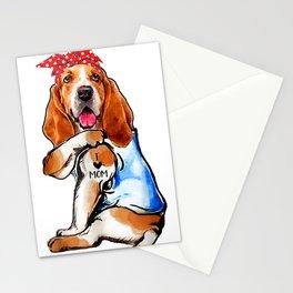 funny dog basset hound i love mom tattoo mors day gift Stationery Cards