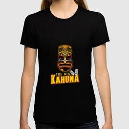 The Big Kahuna Hawaiian Tiki Mask Luau Vacation Pun Design Humor Gift T-shirt
