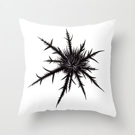 Dry Thistle With Sharp Thorns Botanical Art Throw Pillow