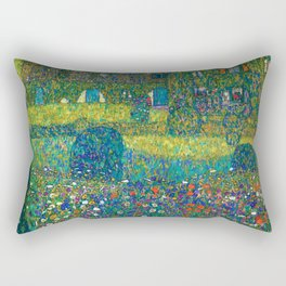"""Gustav Klimt """"Country House by the Attersee"""" Rectangular Pillow"""