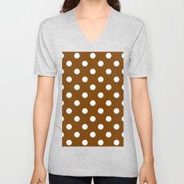 Polka Dots - White on Chocolate Brown Unisex V-Neck