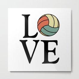 Volleyball Love - Vintage Sport Ball Design Metal Print