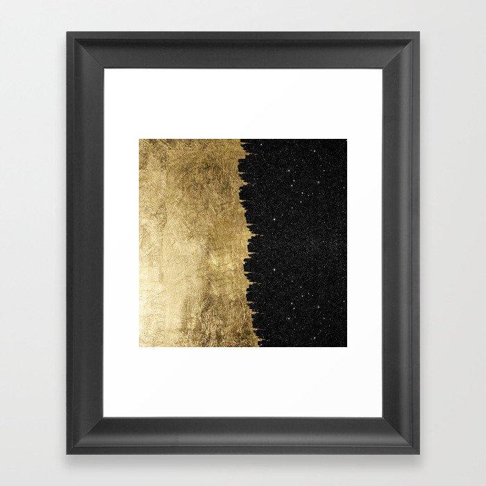 Faux Gold and Black Starry Night Brushstrokes Gerahmter Kunstdruck