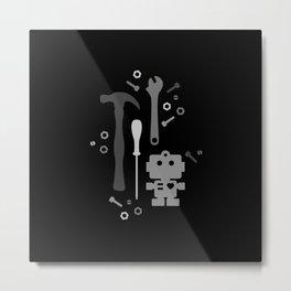 Techie Tools - black and grey Metal Print