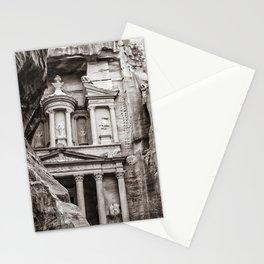 Petra | Black and White Al Khazneh (The Treasury) Incredible Archeological City Jordan Stationery Cards