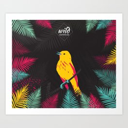 Yellow bird on black background with flashy colors Art Print