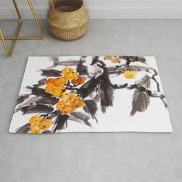 Japanese Loquat sumie ink painting Rug