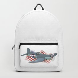 Corsair WWII Airplane with American Flag Backpack