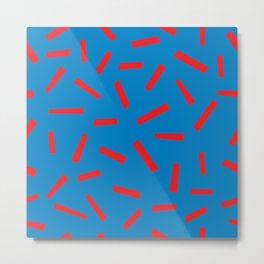 Confetti Print Red Blue Memphis Style Pattern French Colors Metal Print