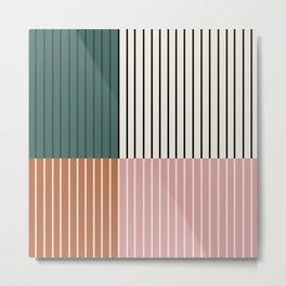 Color Block Lines Abstract V Metal Print