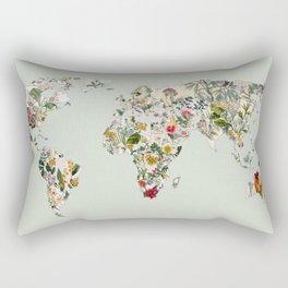 Vintage Botanical World Green Rectangular Pillow