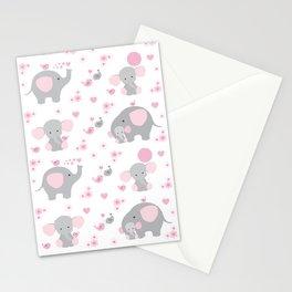 Pink Elephant Baby Girl Nursery Stationery Cards