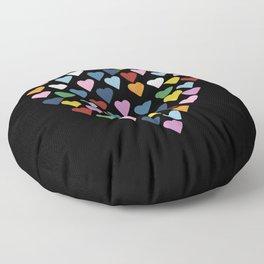Hearts Heart Black Floor Pillow