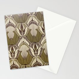 Art nouveau, neutral color pattern, floral design Stationery Cards