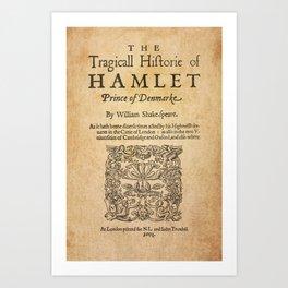Shakespeare, Hamlet 1603 Art Print