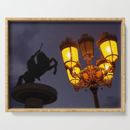 Skopje statue and streetlights at night Serving Tray