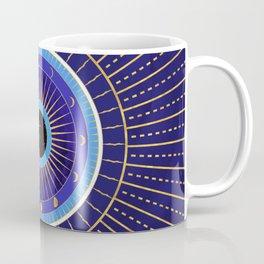 Cobalt Blue Evil Eye Mandala  with Moon Phases Coffee Mug