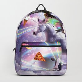Laser Eyes Space Cow On Dinosaur Unicorn - Rainbow Backpack