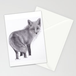 Red Fox Looking Back - Drawing Pencil Sketch Artwork Stationery Cards