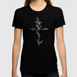 Twig Cross, A Simple Floral White Cross T-shirt