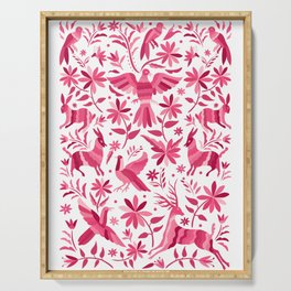 Mexican Otomi Design in Pink Serving Tray