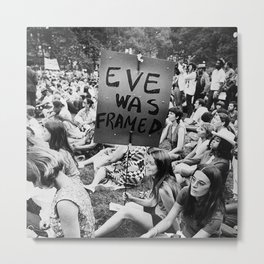 Eve Was Framed Black and White Women's Movement photograph Metal Print