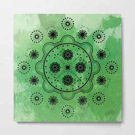 Green Mechanical Flowers Metal Print