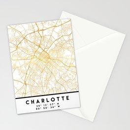 CHARLOTTE NORTH CAROLINA CITY STREET MAP ART Stationery Cards