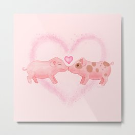 Cute and Sweet Little Piglets in Love, Watercolor Hand-painted Print, I Love You Gift With Farm Animals, Pastel Baby Pink Blush Color Metal Print